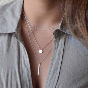 Multi-layered Bar Coin Necklace (Silver)